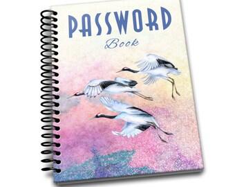 Password Book   Blue Crane   Premium Password Logbook   Online Organizer   Protect Sensitive Information   5 x 8 Inches   Spiral Bound
