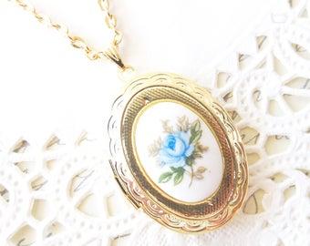 Vintage Rose Locket Necklace 16k Gold Plated - Gold Locket - Oval Locket - Keepsake - Vintage Limoges - Blue Rose Gold Locket