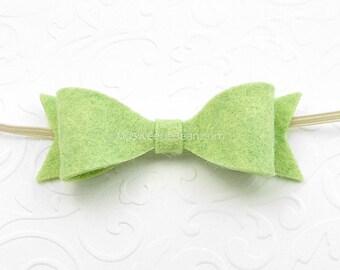 Pistachio Felt Headband, Felt Bow Headband, Newborn Baby Headband 85 colors, Felt Headband for Babies, Pale Green