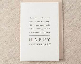 Happy Anniversary Shakespeare Letterpress Greeting Card