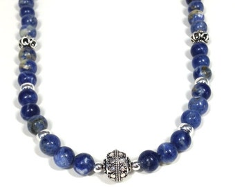 Sodalite and Sterling Silver Necklace