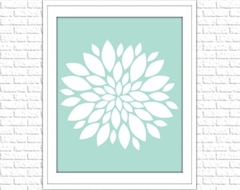 Floral Print | 8x10 Printable Art Print | Home Wall Art | Home Printable | Dahlia Subway Art | Instant Download Printable, Mint, Aqua