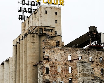Minneapolis Historic Building - Wall Art - Architecture Photography - Home Decor -  Art Print - Gol Medal Flour - Brick - Ruins - 8x10
