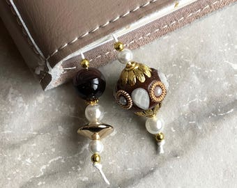 BEADED BOOKMARK for Travelers Notebooks | Planners | Journals | Books BROWN with pearl and gold  accents