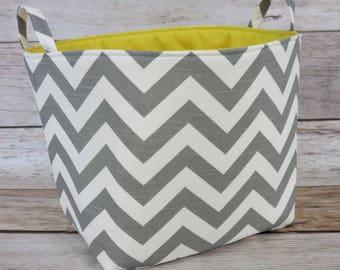 "Gray/ White Chevron Zigzag - Fabric Organizer Bin Toy Laundry Storage Container Basket -  11"" x 11"" x 11"""