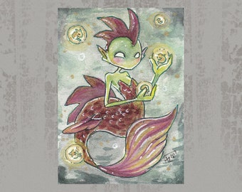 MerMay 2018 Card 5 - Original ACEO, watercolor painting