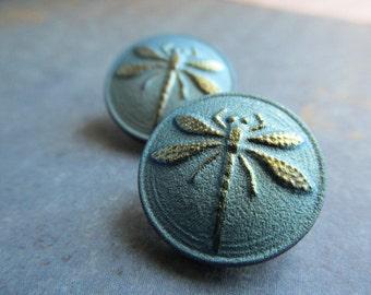 Iridescent Green BLUE Czech Dragonfly Button, 18mm Czech Glass Button, 18mm Button, Buttons, Dragonflies, Czech Glass Buttons, BUTDF-GRNBLUE