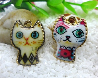 Adorable Kitty Cat Enamel Pendants Gold tone Charms Silver Tone Alloy Jewelry Making Supplies 25mm x 18mm