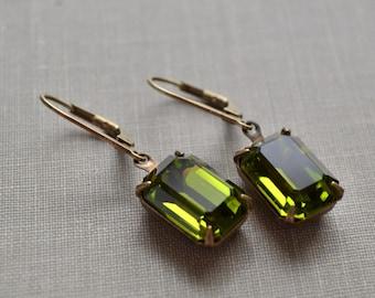 Olivine Green Estate Rhinestone Earrings, Lever Back, Vintage Green Glass, Antiqued Brass Earrings