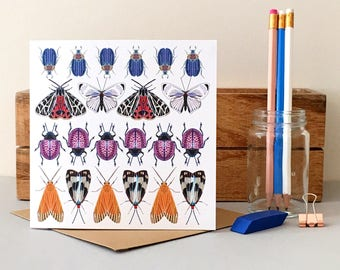 Insect Card - Butterfly Card - Moth Card - Bug Card - Blank Card - Birthday Card - Thank You Card - Thinking of You Card