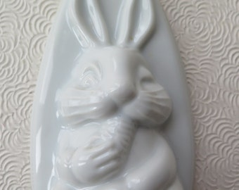 Easter Bunny Rabbit Chocolate Candy Mold White Ceramic Hanging Vintage Retro Easter Decor