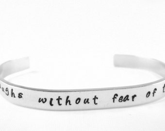 Proverbs 31:25 bracelet She laughs without fear of the future hand stamped bible verse jewelry, inspirational Christian cuff gift for women