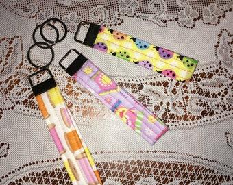 fabric keychain fob, keychain ladybugs, keychain sewing thread, keychain birdhouses, wristlet wrap