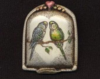 Parakeet pair bird scrimshaw technique resin pin