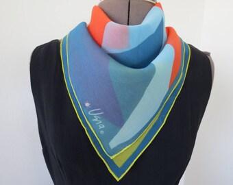 "1960s Blue Orange Yellow Mountain Print Silk Scarf by Vera Neumann - 23"" Square"
