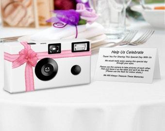 10 cameras -Beautiful Pink Ribbon Disposable Cameras-24 exp Fuji color film with flash -- PERSONALIZE - wedding camera, Birthday, (F50440)