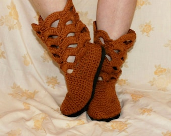 Crochet Boots Pattern------COPPER GLOW BOOTS-----Beautiful Scallop Design-----Street Shoes----with rubber sole