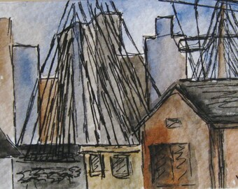 U.S.S. Constitutuion Original Art Massachusetts Painting ACEO Watercolor Boston Skyline USS Constitution Original Art by Kathleen Daughan.