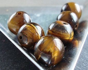 Tiger Eye Beads 8mm Smooth Flash Brown Rounds - 10 Pieces