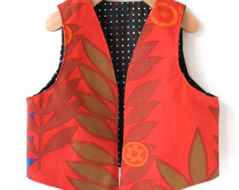 Childs Vest Size 5/6 - Reversible in Woodland Print
