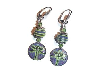 Pewter Dragonfly Earrings Lampwork Beads Purple Lampwork and Pewter E105