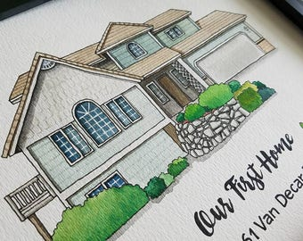 Custom house Portrait-100% Hand Drawing