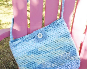 Crocheted Beach Totebag Cotton Denim Blue White Bag by Distinctly Daisy