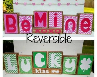 Valentine's Day Blocks - St. Patrick's Day Blocks - Valentine's Day Decor - St. Patrick's Day Deco - Reversible Blocks - Wooden Blocks