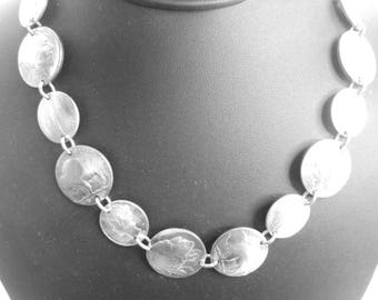 Coin necklace~Antique nickel and dime necklace-linked coins-18""