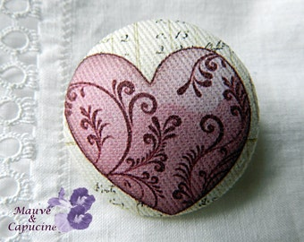 Fabric button, pink heart, 0.78 in / 20 mm
