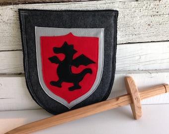 Dragon Knight Shield BLACK and GREY - Halloween Costume - Kid Costume