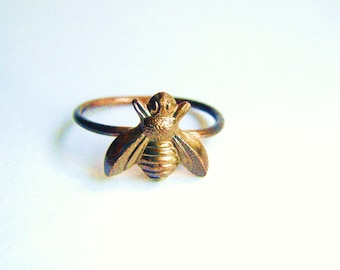 Brass Tiny Cute Honey Bumble Bee Ring on Antiqued Brass Band, Art Nouveau, Tattoo, Steampunk