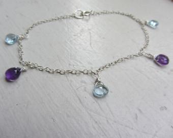 Blue topaz bracelet,  December Birthstone bracelet,  Amethyst and Blue Topaz Bracelet, Sky Blue Topaz Bracelet, Sky blue topaz