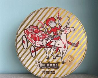 Vintage Fruit Cake Tin, Kitschy Christmas Tin, Mrs. Carver's Tin, Tex Kringle, Country Christmas Tin, Vintage Christmas TIn