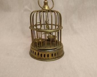 Vintage Brass Birdcage, Solid brass bird cage with bird and feeders