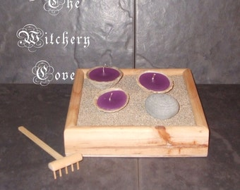 Handmade miniature Zen Garden Shell Candles with handmade meditation Rake Pebble & Sand
