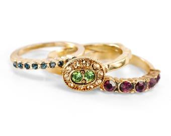 Set of 3 Gold Stack Rings, Inspirational Stacking Rings Set, Swarovski Crystal Rings, Stackable Rings, Boho Rings, Gypsy Vintage Rings R101