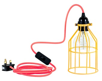 Yellow Metal Cage Industrial Light Lamp Neon