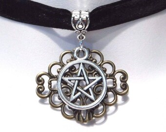 Pentagram and Filigree pendant on black velvet choker necklace 2K
