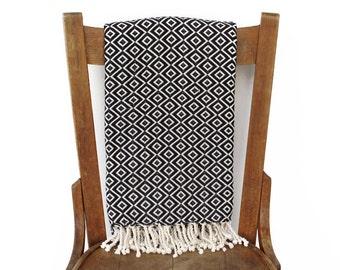 Sofa Throw Pestemal türkische Handtuch Couch werfen Strand Decke handgewebte Baumwolle Türkisch Bad Handtuch Fouta Tuch Strand Wrap SCHWARZ LALE DIAMANT