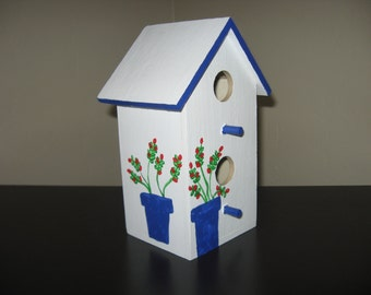 EASTER BIRDHOUSE - Hand Painted - Decorative White/Blue - Yard & Patio Decoration