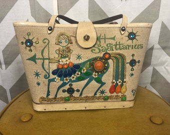 Vintage 1960s Sagittarius Purse   Enid Collins of Texas Purse   Horoscope Purse   Vintage Designer Purse