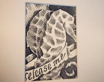 Original Pen and Ink ACEO Seahorses Art Card - Undo