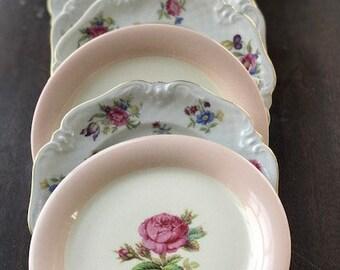 Vintage Bread Butter Dessert Plates Mismatched Set of Six (6) Tea Party Bridal Shower Baby Shower Wedding Garden Party