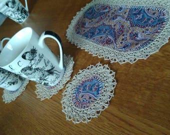 Tea coaster set. Crochet edges.