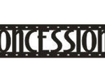 """12"""" Wood CONCESSIONS Film Strip Wooden Wall Words Hanging Sign"""