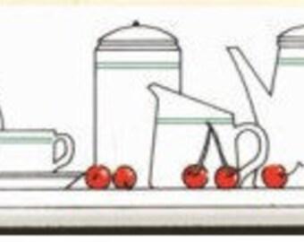 "90's Ceramic wall border ""breakfast"""