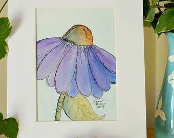 Coneflower Original Watercolor No. 1 by Lana Manis, Cottage, Garden, Whimsical Artwork, Ready to Frame