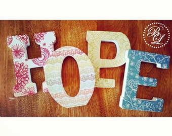"""HOPE 4.75"""" Standing Letters - For special occasions, holidays, birthdays, baby showers, graduation, weddings"""