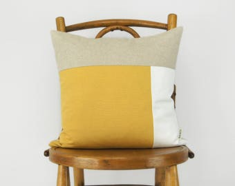 16x16 Color Block Decorative Pillow Case in Mustard Yellow, White and Natural | Geometric Cushion Cover | Modern and Minimalist Home Decor
